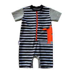 Baby sunsuit for boys in Surfing Dogs Rush