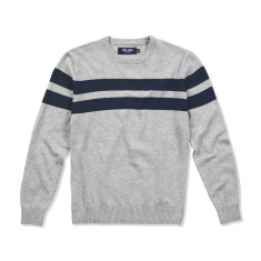 Boys Crew Neck Jumper in Grey with Navy Stripes