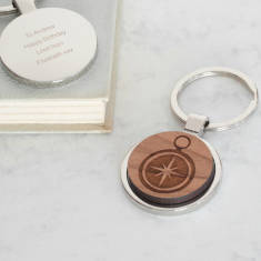 Personalised wooden compass key ring