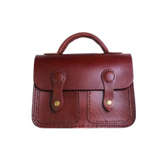 Leather 2-pocket shoulder bag with handle