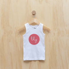 Personalised dot singlet in sky blue or melon