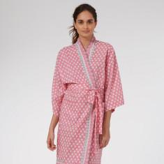Wrap Over Kimono Robe in Pink Solero print