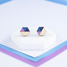 Hexagon geometric earrings in mauve pink, teal and navy blue