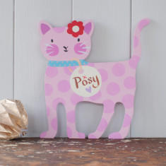 Pink Personalised Hand Painted Cat Door Plaque