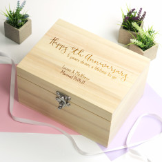 Personalised 5th Anniversary Wooden Keepsake Box