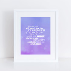 strength of my love typographic art print
