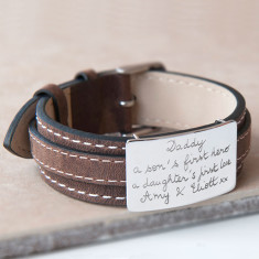 Men's personalised sterling silver & leather bracelet