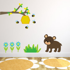 Branch With Bear and Bees Wall Sticker