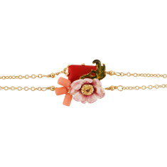 Pink Flower and Red Stone Bracelet