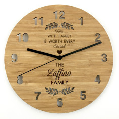 Time With Family Personalised Bamboo Wall Clock