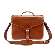 TheCompanion Leather Thin Briefcase Messenger Bag In Tan - 16