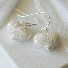 Frosted Silver Heart Earrings
