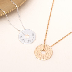 Personalised Hammered Open Disc Necklace