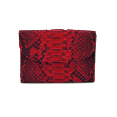 Red motif python and napa leather flap card case