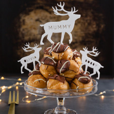 Personalised Reindeer Profiterole Cake Topper