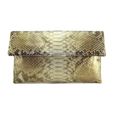 Sparkly gold python leather classic foldover clutch