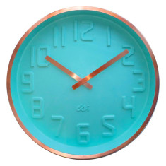 Mint wall clock with curved dial and copper finsh case