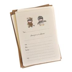 An April Idea bear loves penguin invitations (pack of 10)