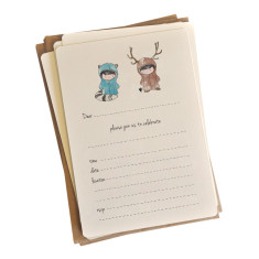 An April Idea moose loves raccoon invitations (pack of 10)