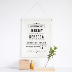 Once upon a time personalised wedding wall banner