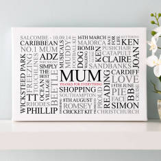 Personalised Mum's Favourites Word Art