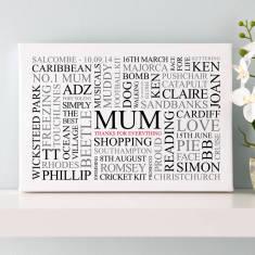 Personalised Mum's Favourites Word Art