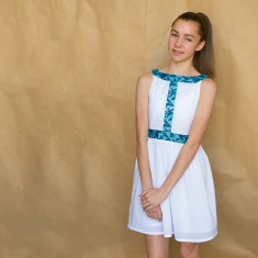 Cotton party dress with geometric trim