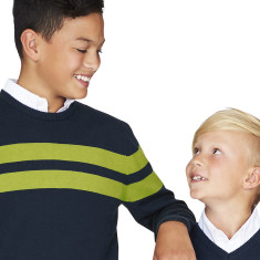Boys Navy & Green Striped Crew Neck Jumper