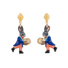 Cymbal Player Rabbit Earrings