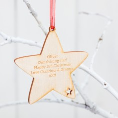 Personalised Star Birchwood Christmas Baubles
