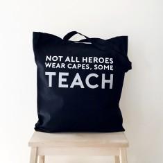 Hero teacher tote bag