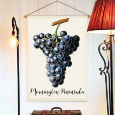 Mornington Peninsula Grapes Linen Wall Hanging
