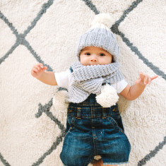 Knit Your Own Kid's Snowdrops Hat + Scarf Kit