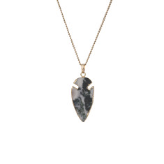 Arrow Marbled Green Jade Pendant Necklace