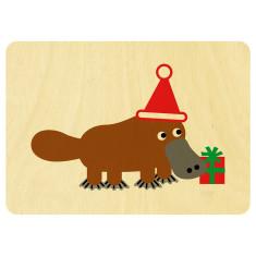 Santa platypus wooden card