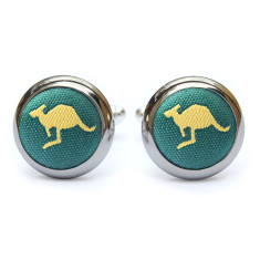 Roo Cufflinks in Green and Gold