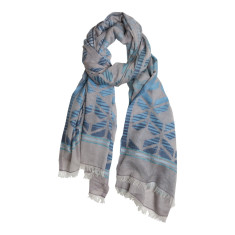 Zig zag weave cotton scarf in blues