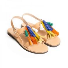 Sandalaki Leather Tassel Sandals In Multi