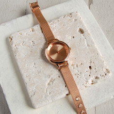 Ladies' Rose Gold Watch With Mesh Strap