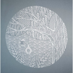 The hidden life screen-printed fabric art in blue grey and white