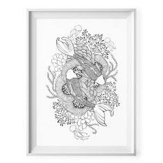 Little fish black and white illustration print