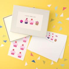 Personalised cupcake notecards writing set