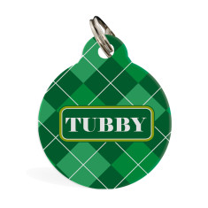 Personalised standard pet ID tag in Argyle Green