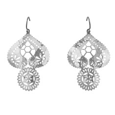Lace doily large earrings in sterling silver