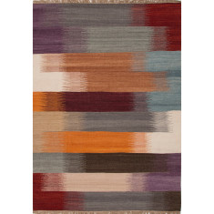 Red oxide & sea blue handmade flat weave wool rug
