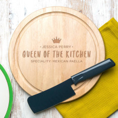 Personalised 'Queen Of The Kitchen' Round Board