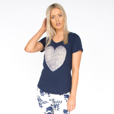 Faded Heart Navy & White Cotton Tee