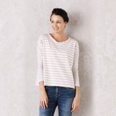 Almond Striped Monaco Top