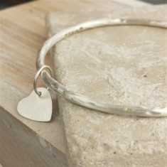 Personalised Heart Silver Bangle