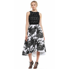 Kelly A-Line Lace Cocktail Dress in Black and White Print